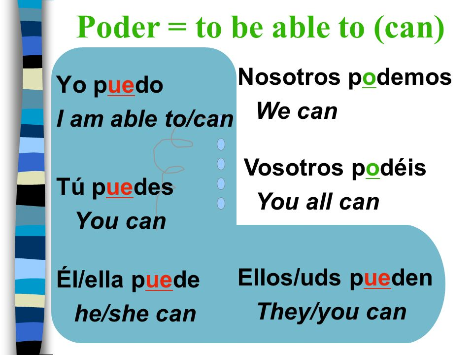 Poder = to be able to (can)