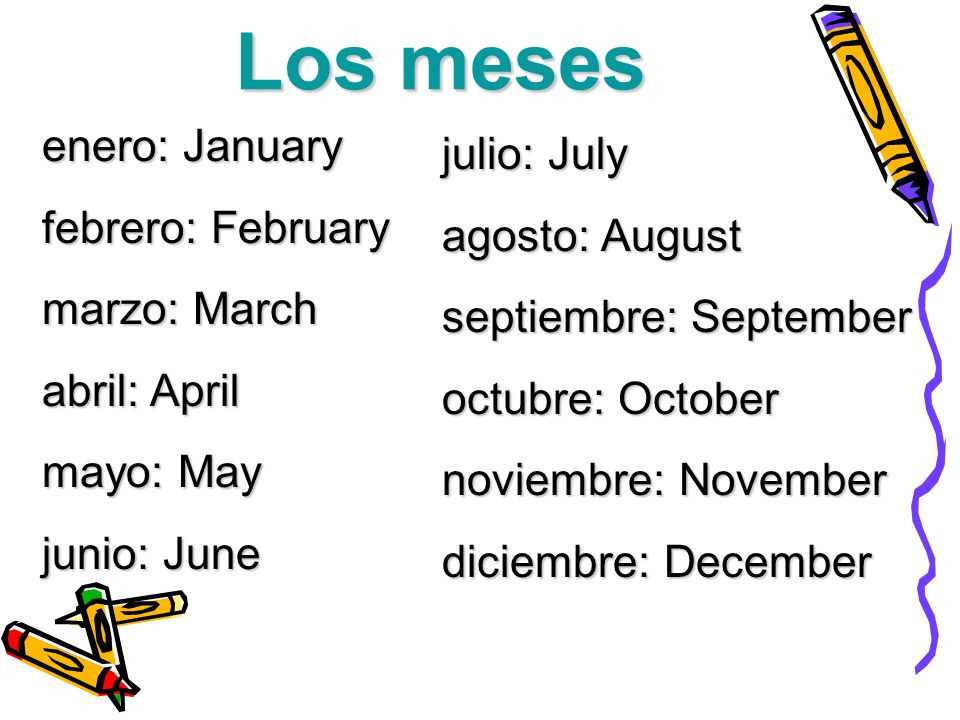 Los meses enero: January julio: July febrero: February agosto: August