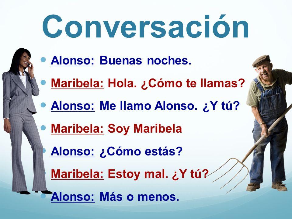 Conversación Alonso: Buenas noches. Maribela: Hola. ¿Cómo te llamas