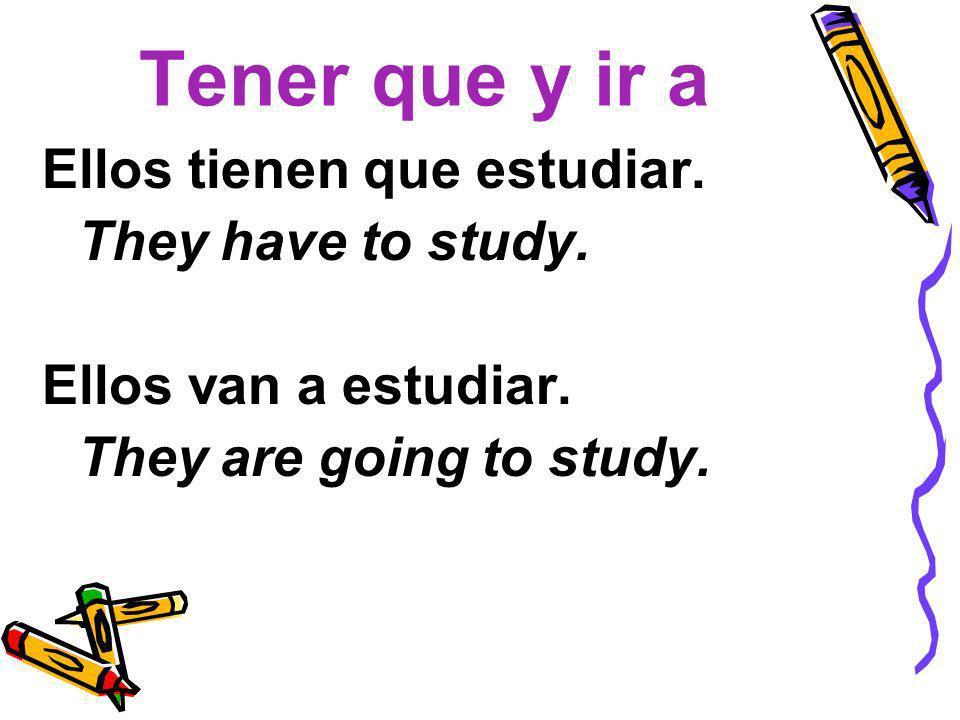 Tener que y ir a Ellos tienen que estudiar. They have to study.