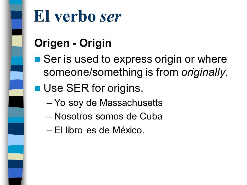 El verbo ser Origen - Origin