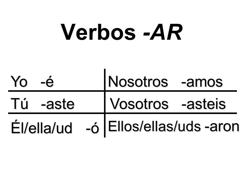 Verbos -AR Yo -é Nosotros -amos Tú -aste Vosotros -asteis