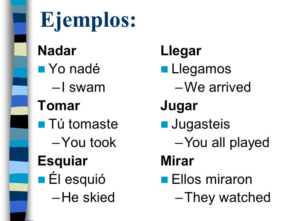 Ejemplos: Nadar Yo nadé I swam Tomar Tú tomaste You took Esquiar