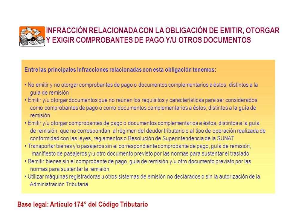 INFRACCIÓN RELACIONADA CON LA OBLIGACIÓN DE EMITIR, OTORGAR