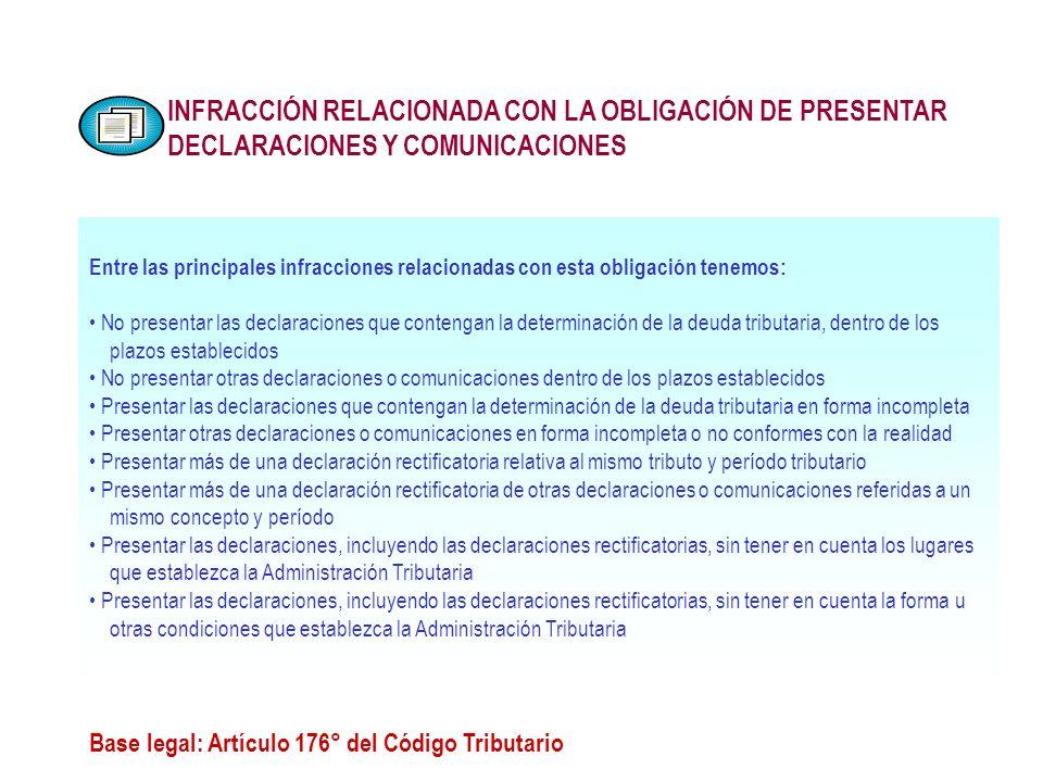 INFRACCIÓN RELACIONADA CON LA OBLIGACIÓN DE PRESENTAR DECLARACIONES Y COMUNICACIONES