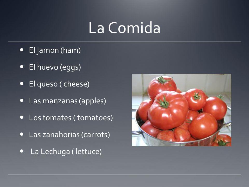 La Comida El jamon (ham) El huevo (eggs) El queso ( cheese)