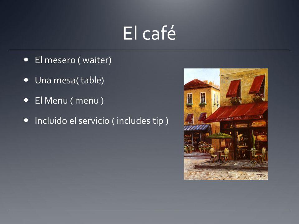 El café El mesero ( waiter) Una mesa( table) El Menu ( menu )