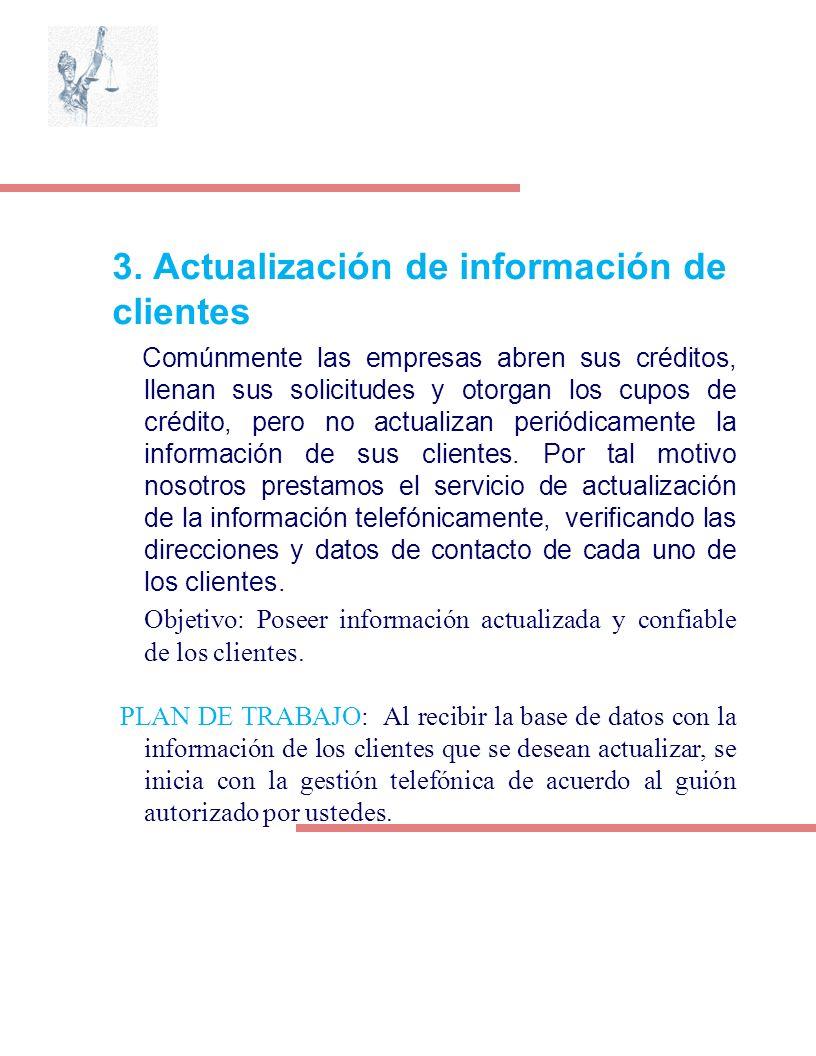 3. Actualización de información de clientes