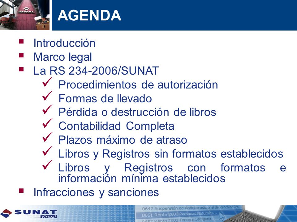 AGENDA Introducción Marco legal La RS 234-2006/SUNAT