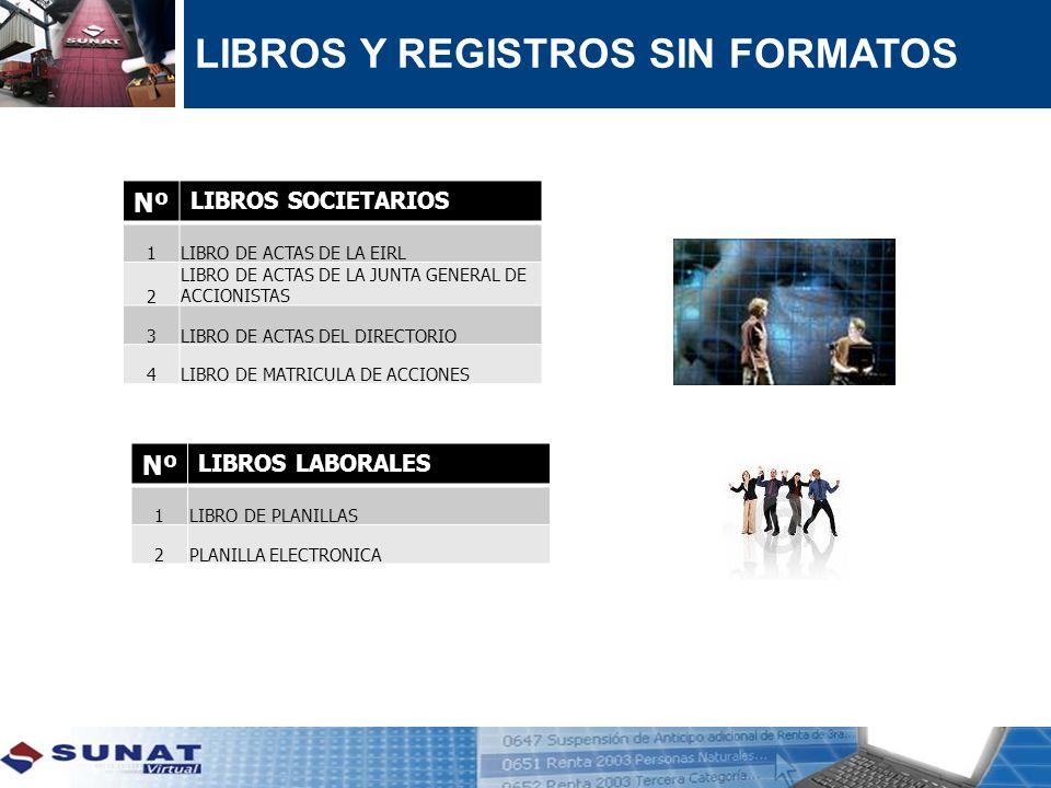 LIBROS Y REGISTROS SIN FORMATOS