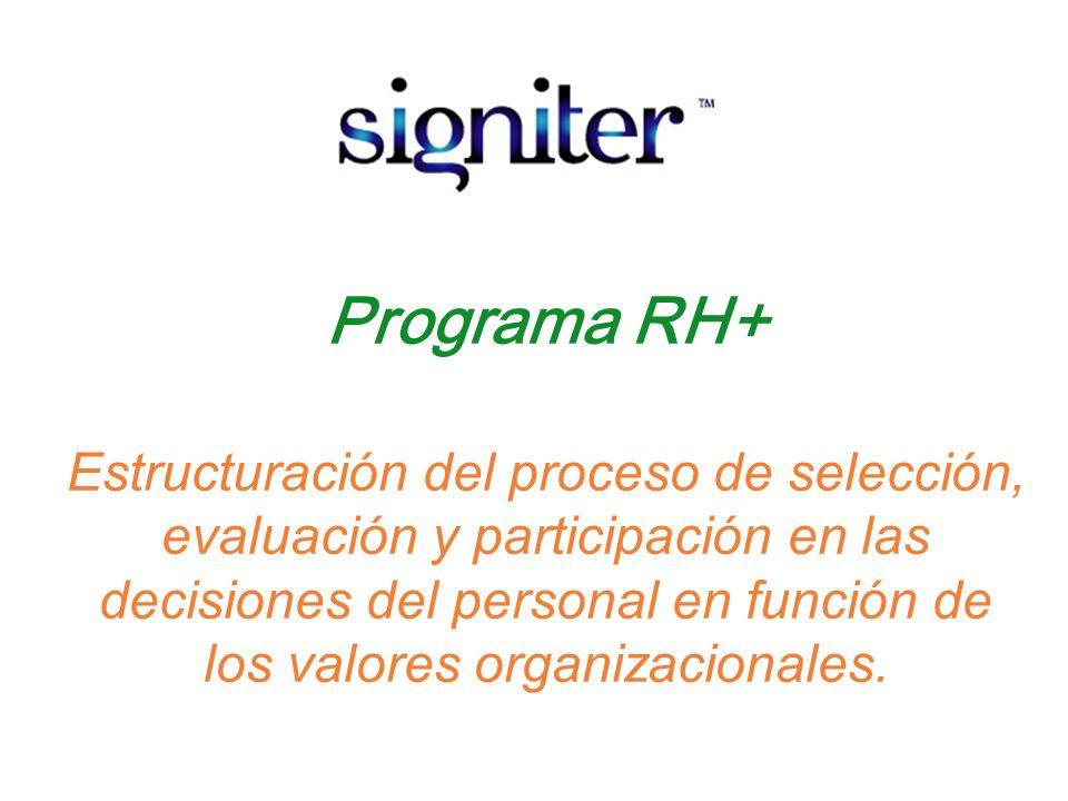 Programa RH+ Estructuración del proceso de selección, evaluación y participación en las decisiones del personal en función de los valores organizacionales.