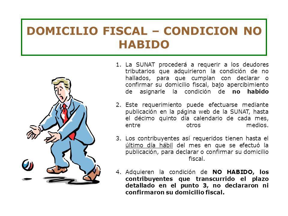 DOMICILIO FISCAL – CONDICION NO HABIDO