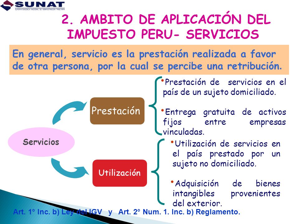 2. AMBITO DE APLICACIÓN DEL IMPUESTO PERU- SERVICIOS gravados con IGV