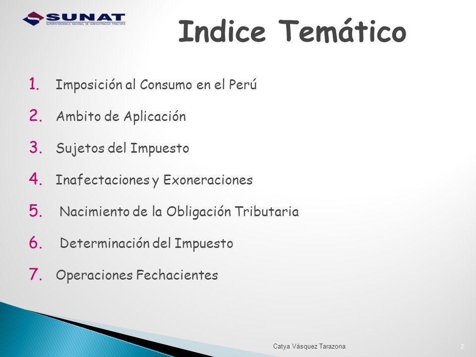 Indice Temático Imposición al Consumo en el Perú Ambito de Aplicación