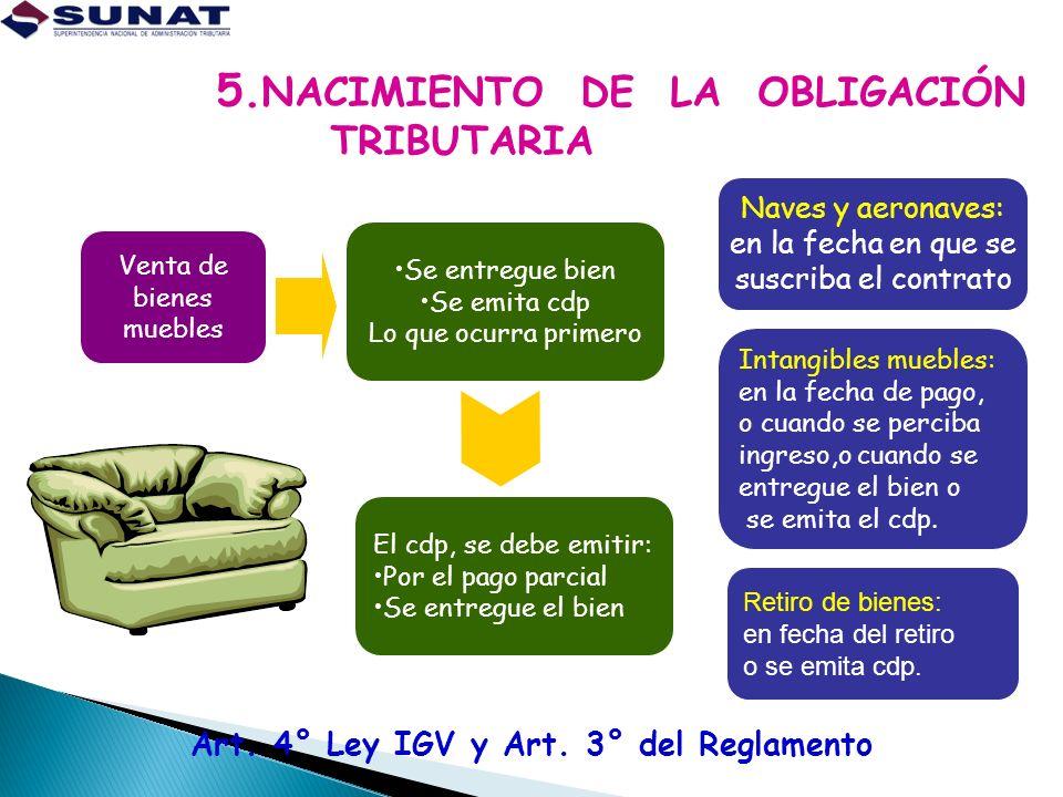 Art. 4° Ley IGV y Art. 3° del Reglamento