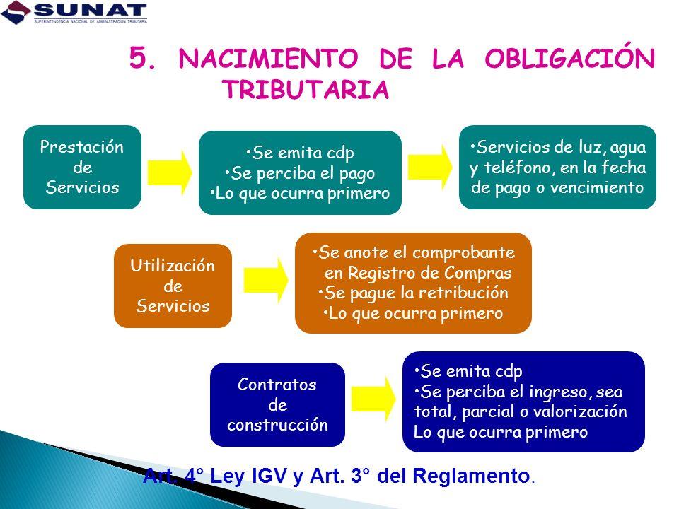 5. NACIMIENTO DE LA OBLIGACIÓN TRIBUTARIA