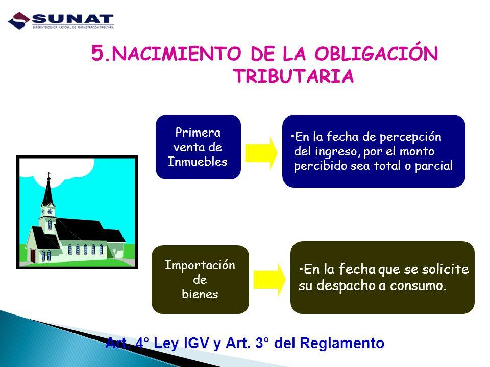 5.NACIMIENTO DE LA OBLIGACIÓN TRIBUTARIA