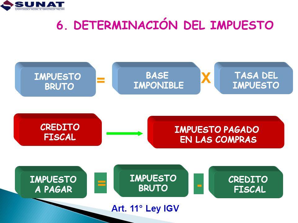 6. DETERMINACIÓN DEL IMPUESTO
