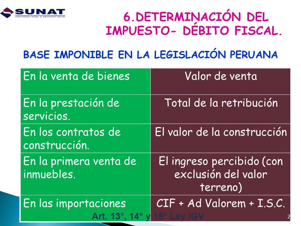 6.DETERMINACIÓN DEL IMPUESTO- DÉBITO FISCAL.