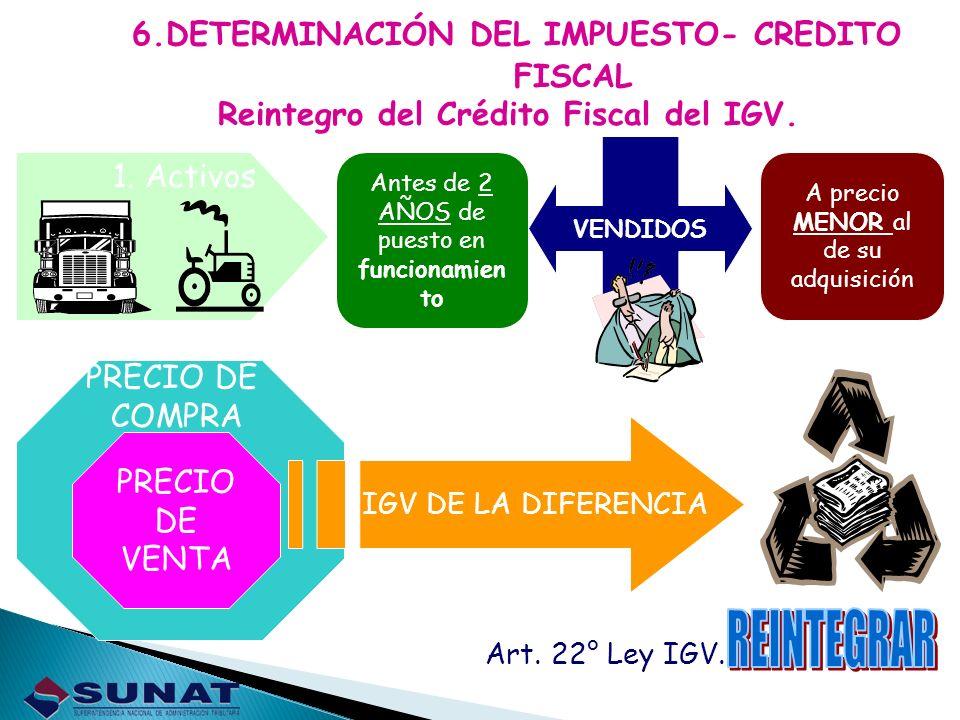 REINTEGRAR 6.DETERMINACIÓN DEL IMPUESTO- CREDITO FISCAL