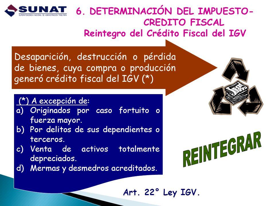 REINTEGRAR 6. DETERMINACIÓN DEL IMPUESTO- CREDITO FISCAL