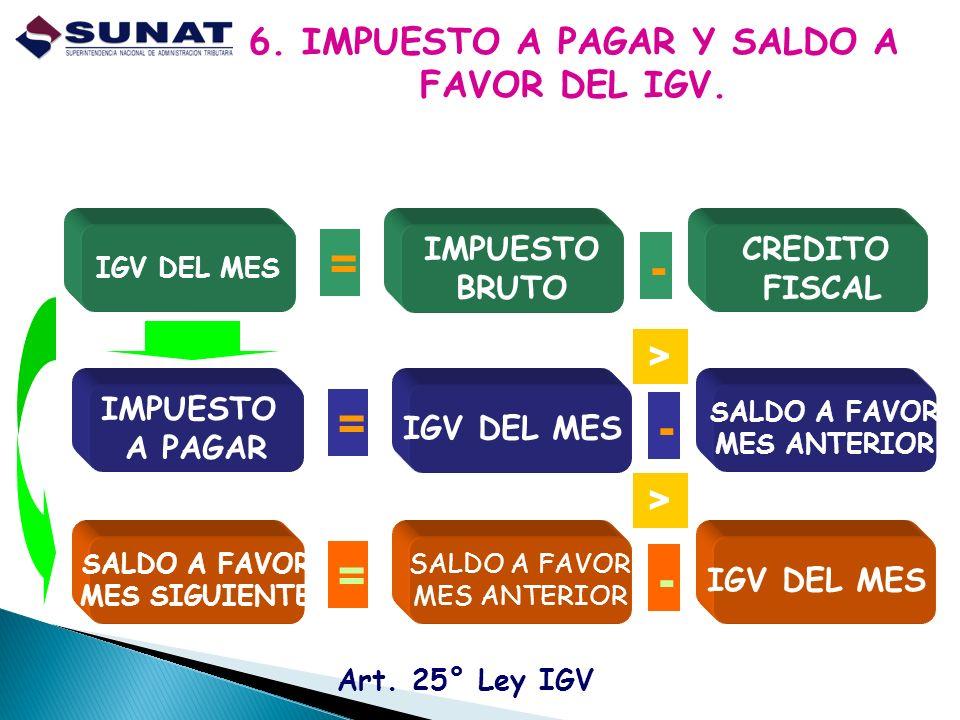 6. IMPUESTO A PAGAR Y SALDO A FAVOR DEL IGV.