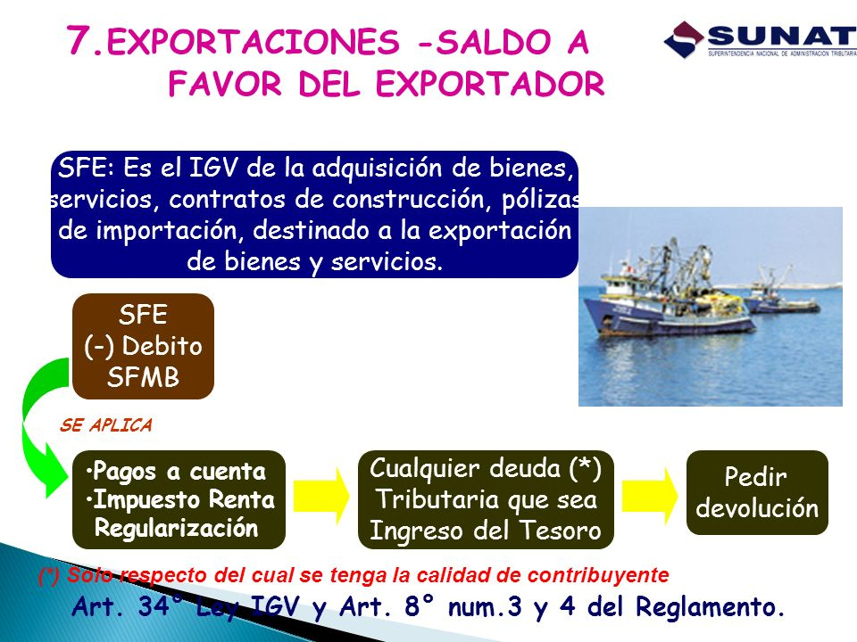 7.EXPORTACIONES -SALDO A FAVOR DEL EXPORTADOR