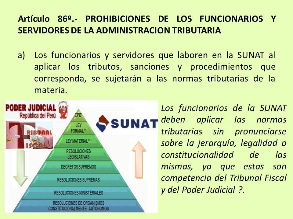 Artículo 86º.- PROHIBICIONES DE LOS FUNCIONARIOS Y SERVIDORES DE LA ADMINISTRACION TRIBUTARIA