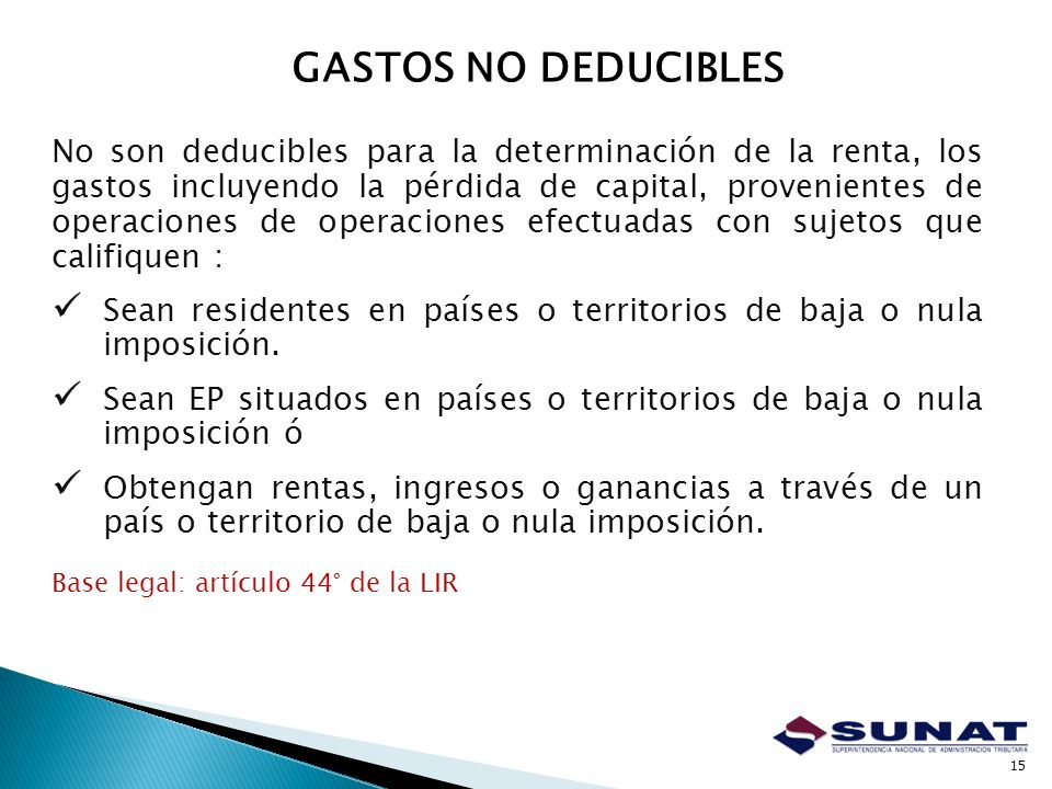 GASTOS NO DEDUCIBLES