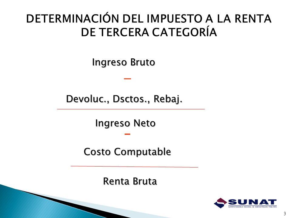 DETERMINACIÓN DEL IMPUESTO A LA RENTA DE TERCERA CATEGORÍA