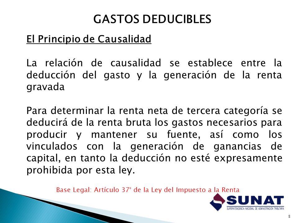 GASTOS DEDUCIBLES El Principio de Causalidad
