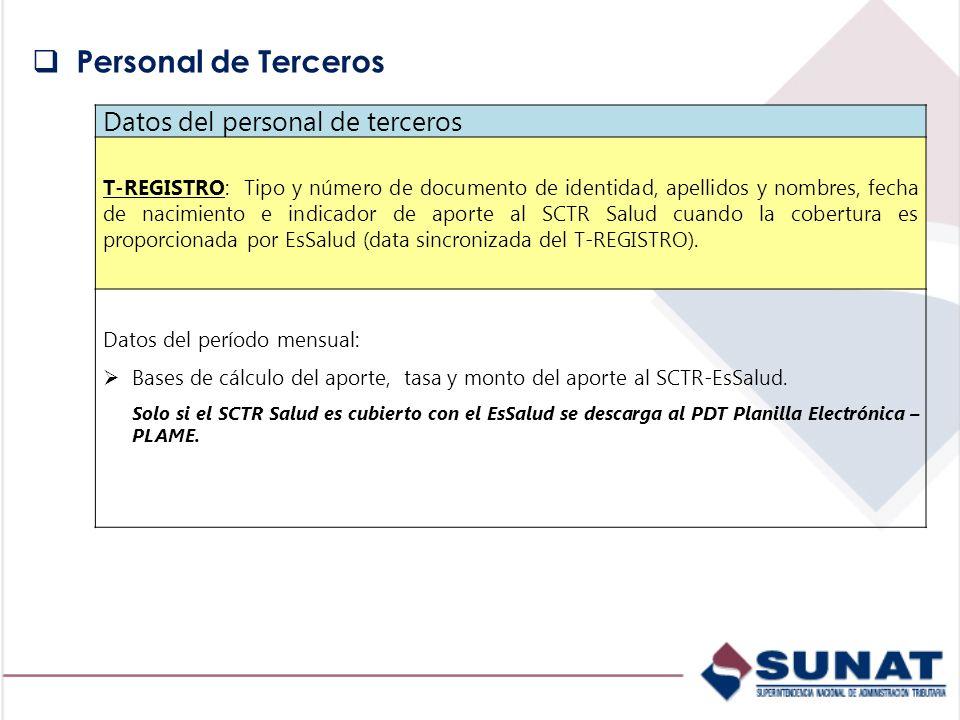 Personal de Terceros Datos del personal de terceros
