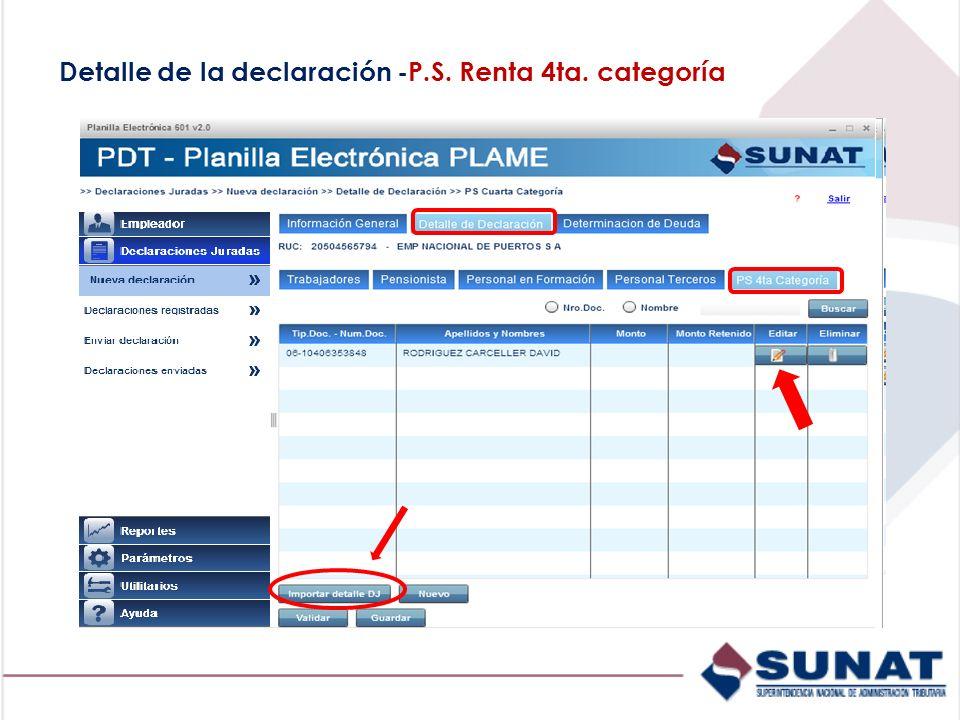 Detalle de la declaración -P.S. Renta 4ta. categoría