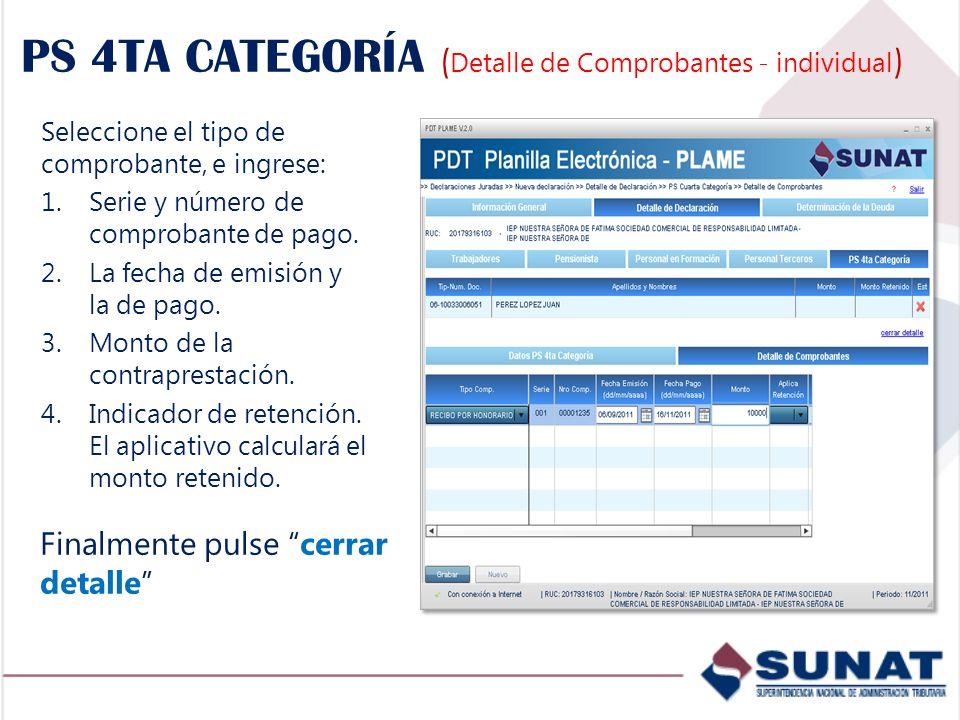 PS 4TA CATEGORÍA (Detalle de Comprobantes - individual)