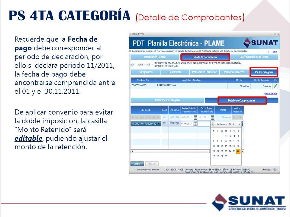 PS 4TA CATEGORÍA (Detalle de Comprobantes)