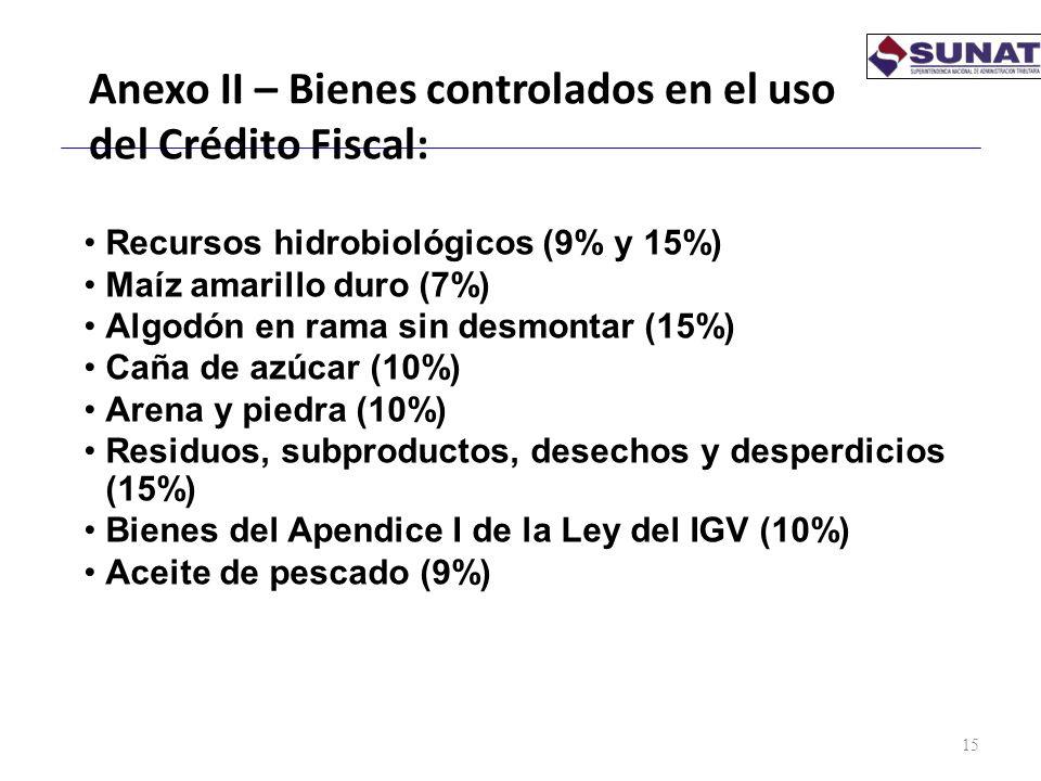 Anexo II – Bienes controlados en el uso del Crédito Fiscal:
