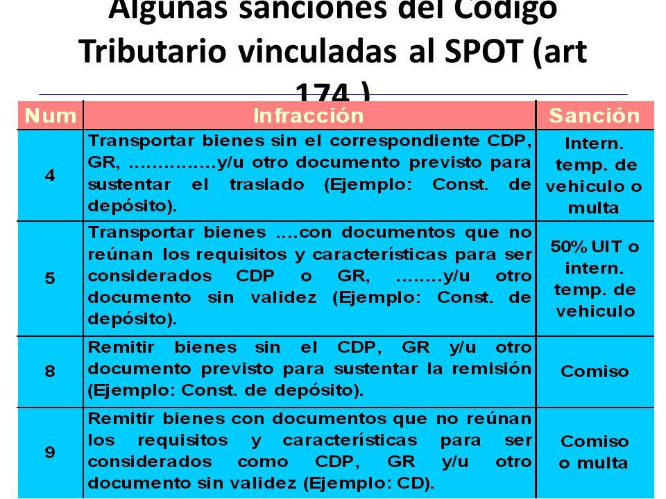 Algunas sanciones del Código Tributario vinculadas al SPOT (art 174.)
