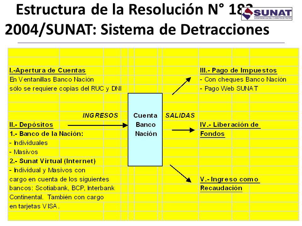 Estructura de la Resolución N° 183-2004/SUNAT: Sistema de Detracciones