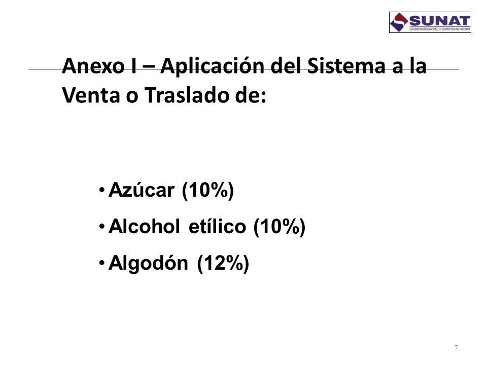 Anexo I – Aplicación del Sistema a la Venta o Traslado de: