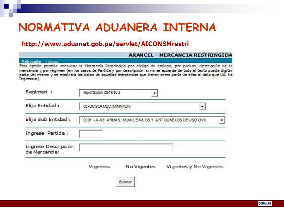 NORMATIVA ADUANERA INTERNA http://www. aduanet. gob