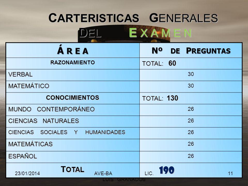 CARTERISTICAS GENERALES DEL E X A M E N