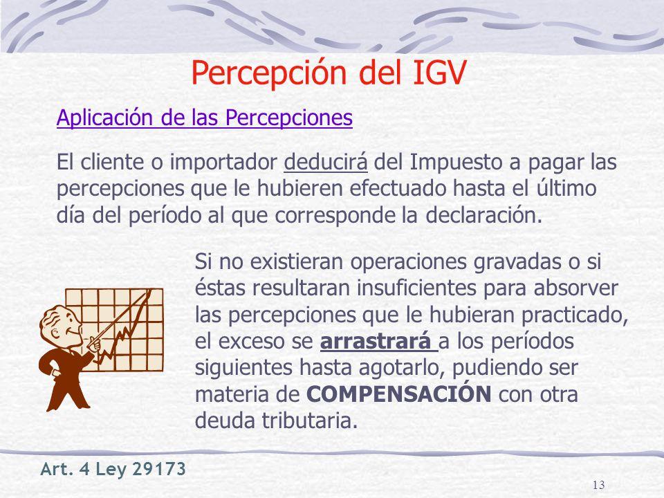 Percepción del IGV Aplicación de las Percepciones