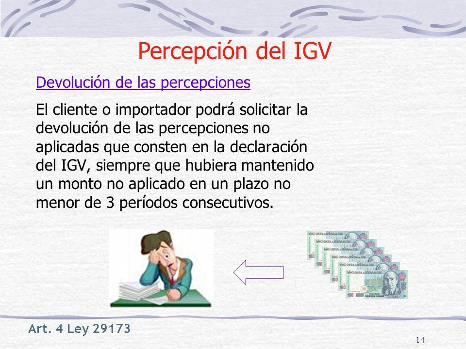 Percepción del IGV Devolución de las percepciones