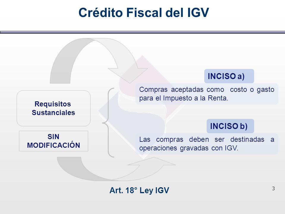 Crédito Fiscal del IGV INCISO a) INCISO b) Art. 18° Ley IGV