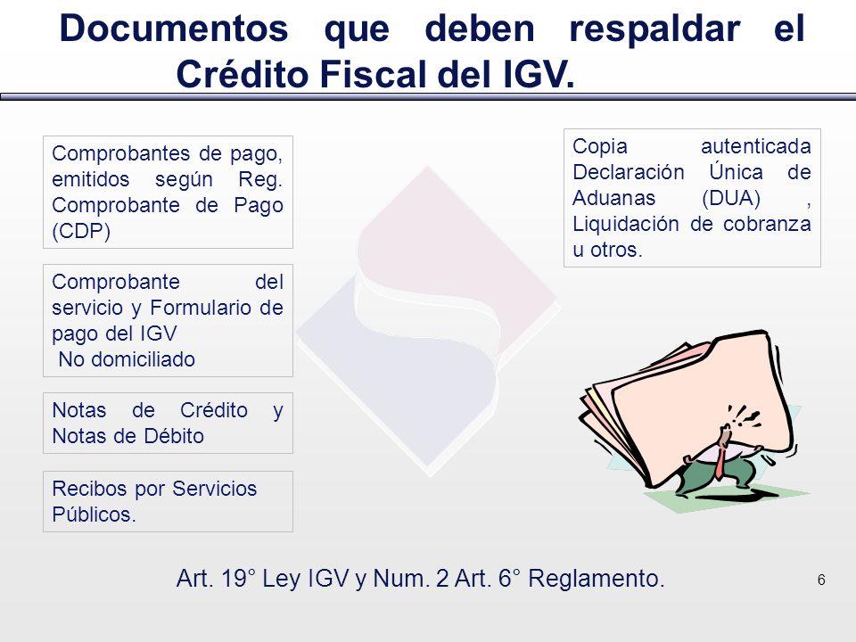 Art. 19° Ley IGV y Num. 2 Art. 6° Reglamento.