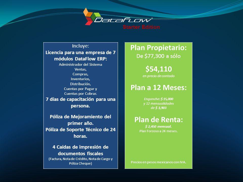 Plan Propietario: $54,110 Plan a 12 Meses: Plan de Renta: