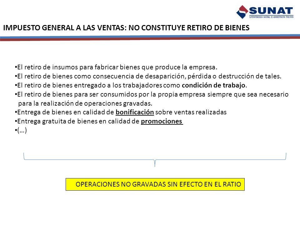 IMPUESTO GENERAL A LAS VENTAS: NO CONSTITUYE RETIRO DE BIENES