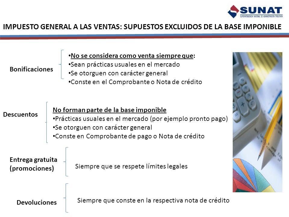 IMPUESTO GENERAL A LAS VENTAS: SUPUESTOS EXCLUIDOS DE LA BASE IMPONIBLE