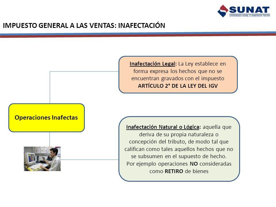 ARTÍCULO 2° DE LA LEY DEL IGV Operaciones Inafectas