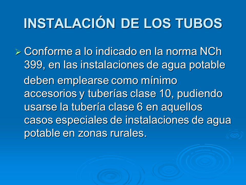 INSTALACIÓN DE LOS TUBOS